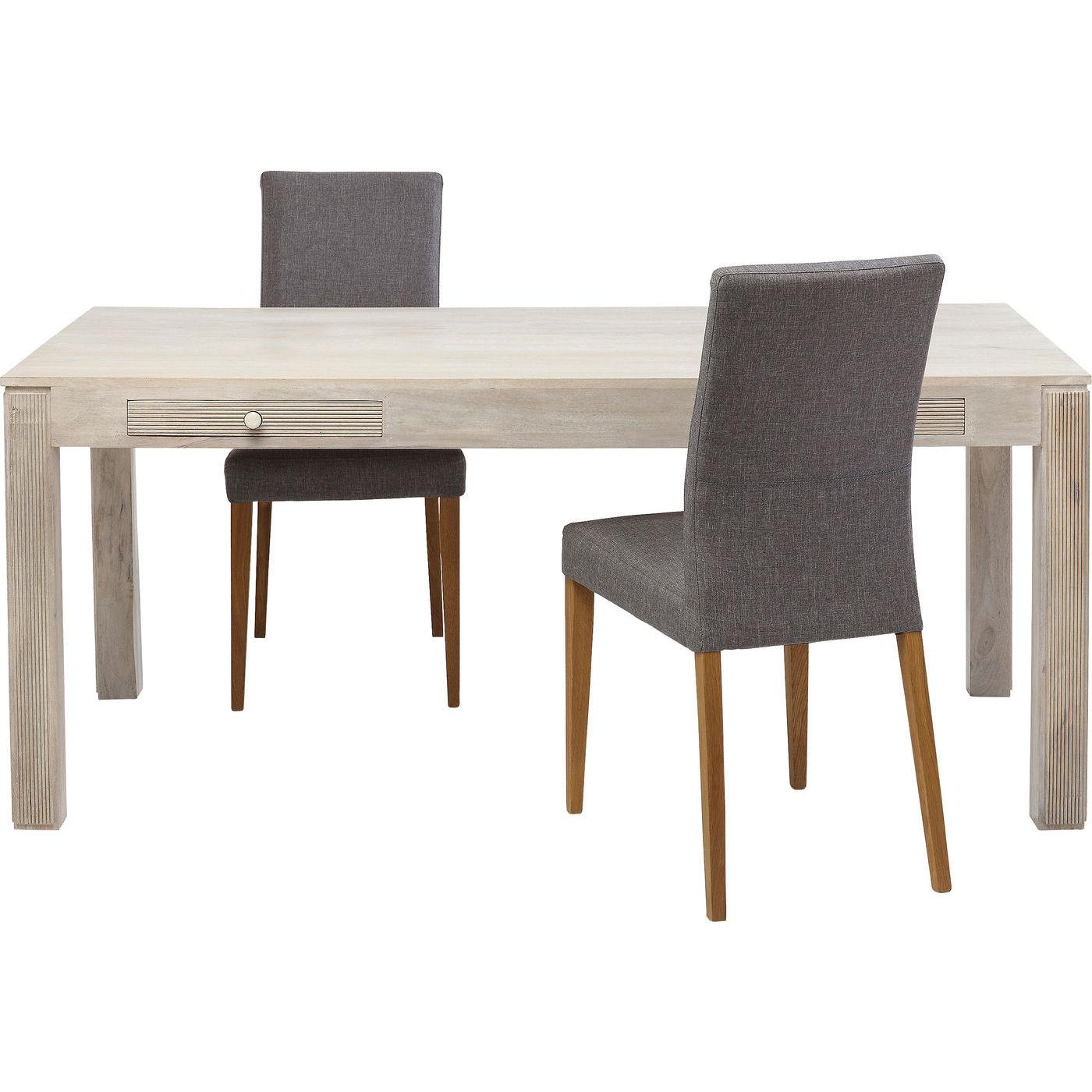 KARE DESIGN Linear spisebord - creme mangotræ, m. 2 skuffer (180x90)