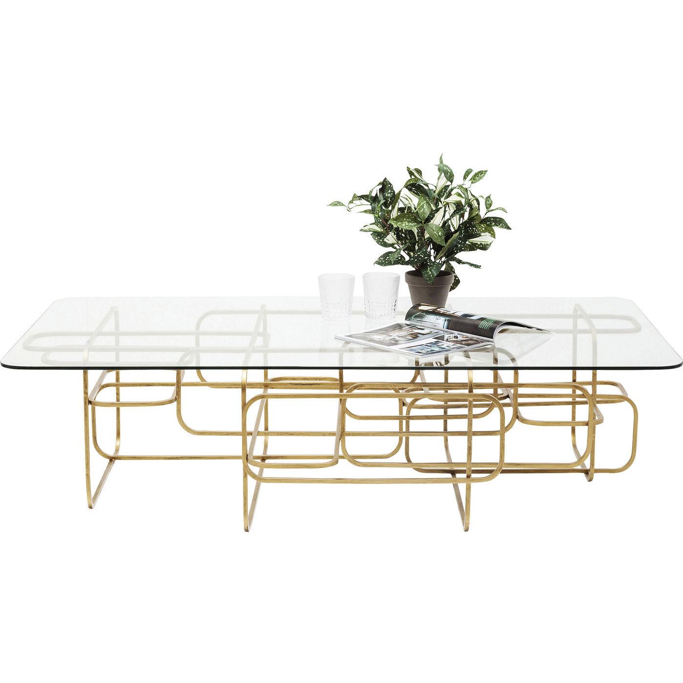 KARE DESIGN Meander Gold sofabord - glas og guld stål (140x80)