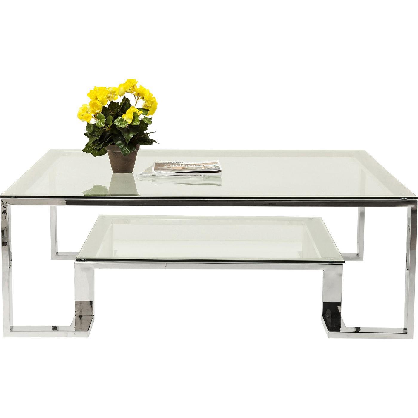 KARE DESIGN Silver Rush sofabord - glasplade og sølv stel (120x120)