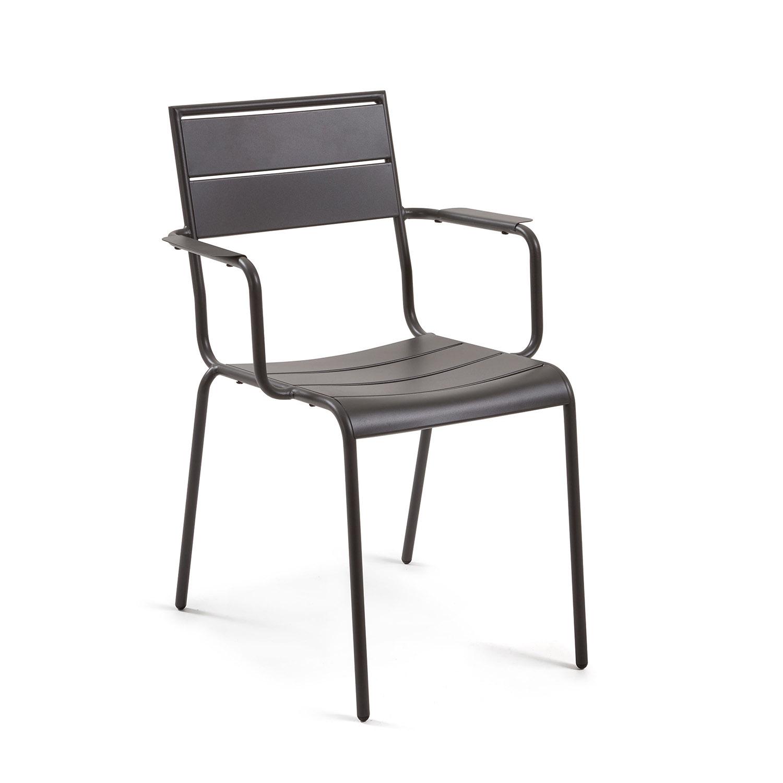 LAFORMA Allegian spisebordsstol m. armlæn - grafit grå metal