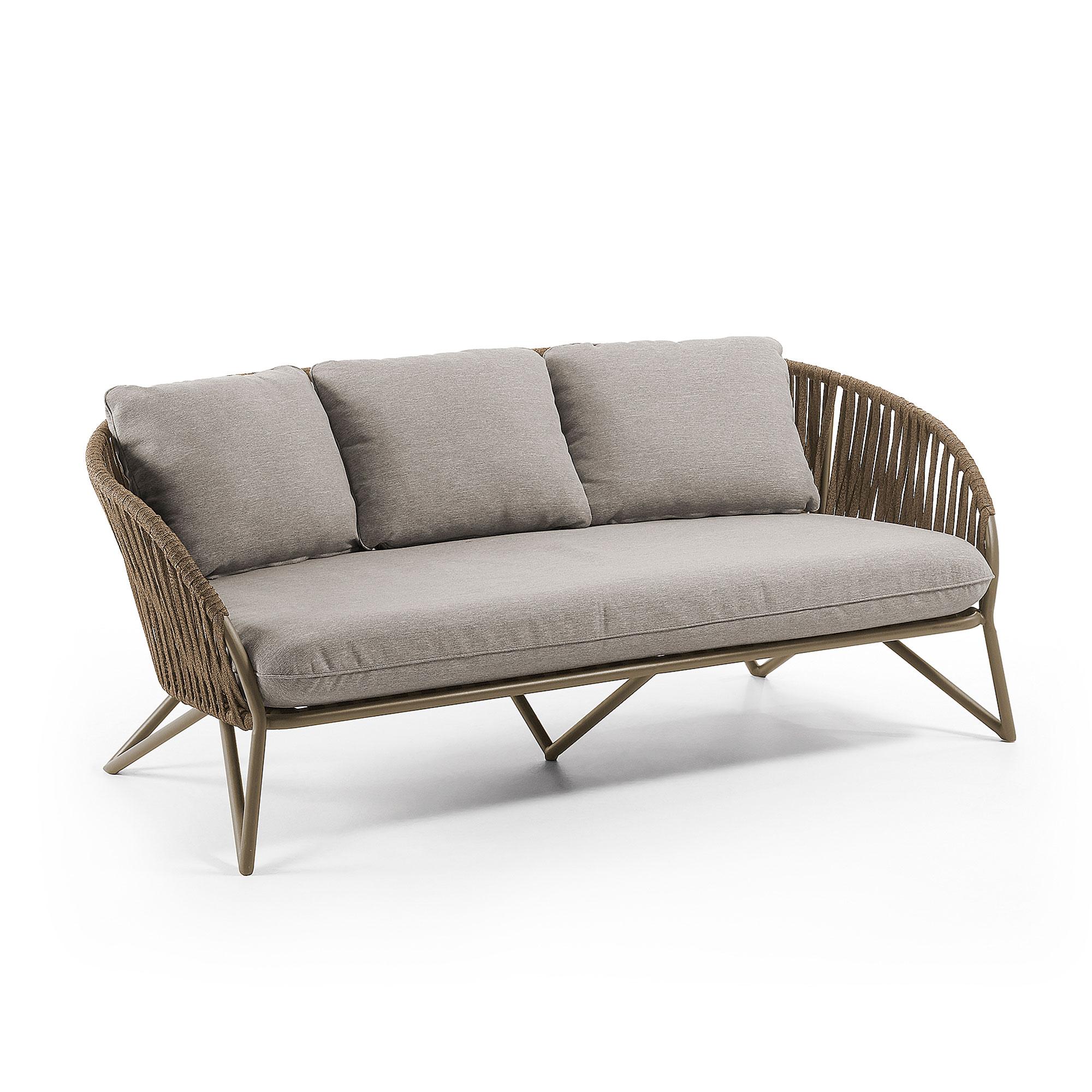 LAFORMA Branzie sofa - brunt metal og reb, m. gråbrune hynder, 3 pers.