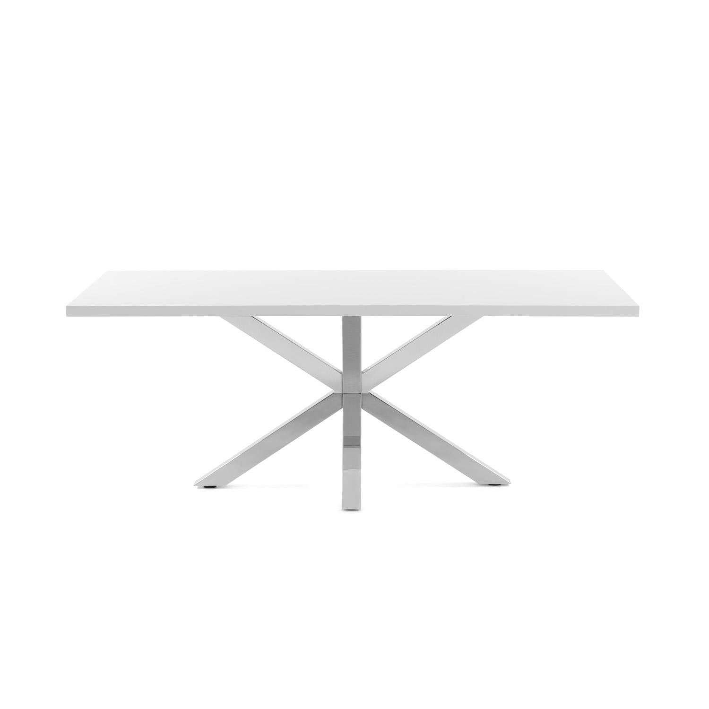 LAFORMA rektangulær Arya spisebord - hvid melamin og sølv stål (160x100)