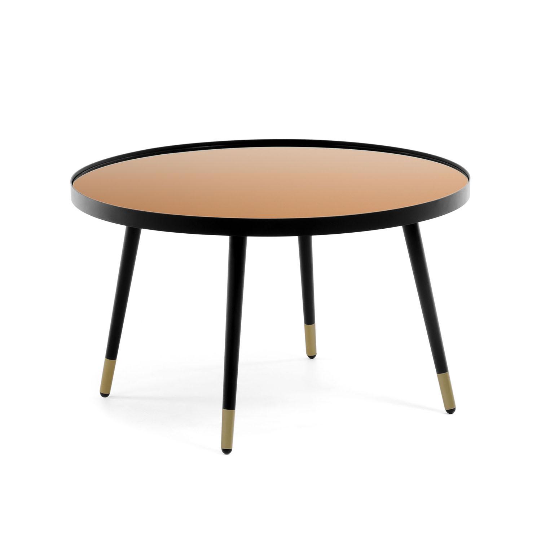 LAFORMA rund Dila sofabord - kobber glas og sort stål (Ø80)