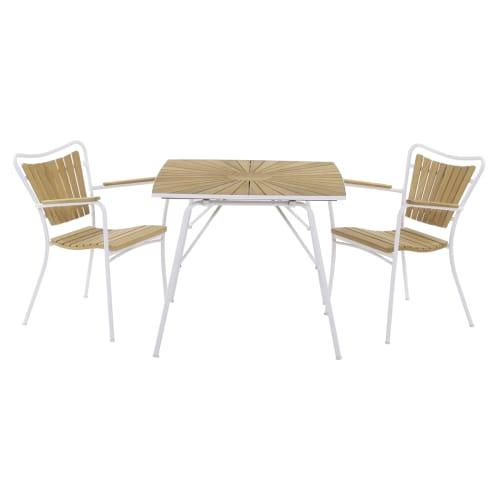 Mandalay Marguerit cafésæt med 2 stole - Teak/hvid