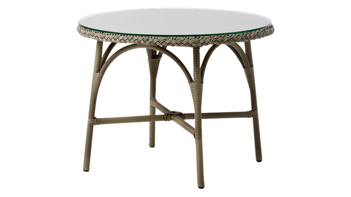 SIKA DESIGN Victoria cafébord - glasplade og natur fibre (Ø 80)