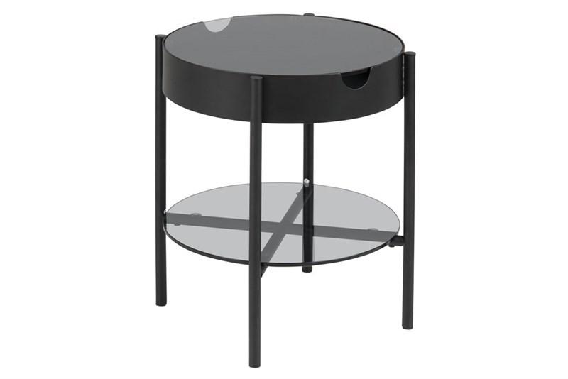 ACT NORDIC Tipton bakkebord - røgfarvet glas/sort metal, rund (Ø45)