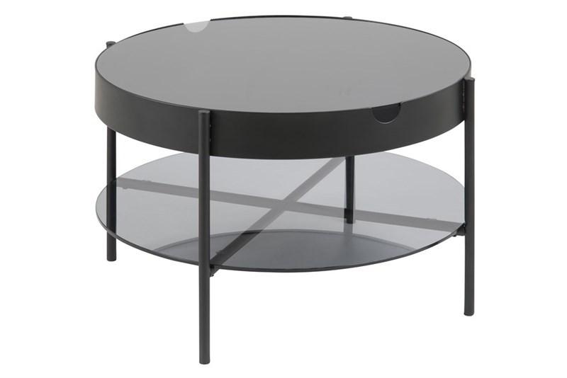 ACT NORDIC Tipton bakkebord - røgfarvet glas/sort metal, rund (Ø75)