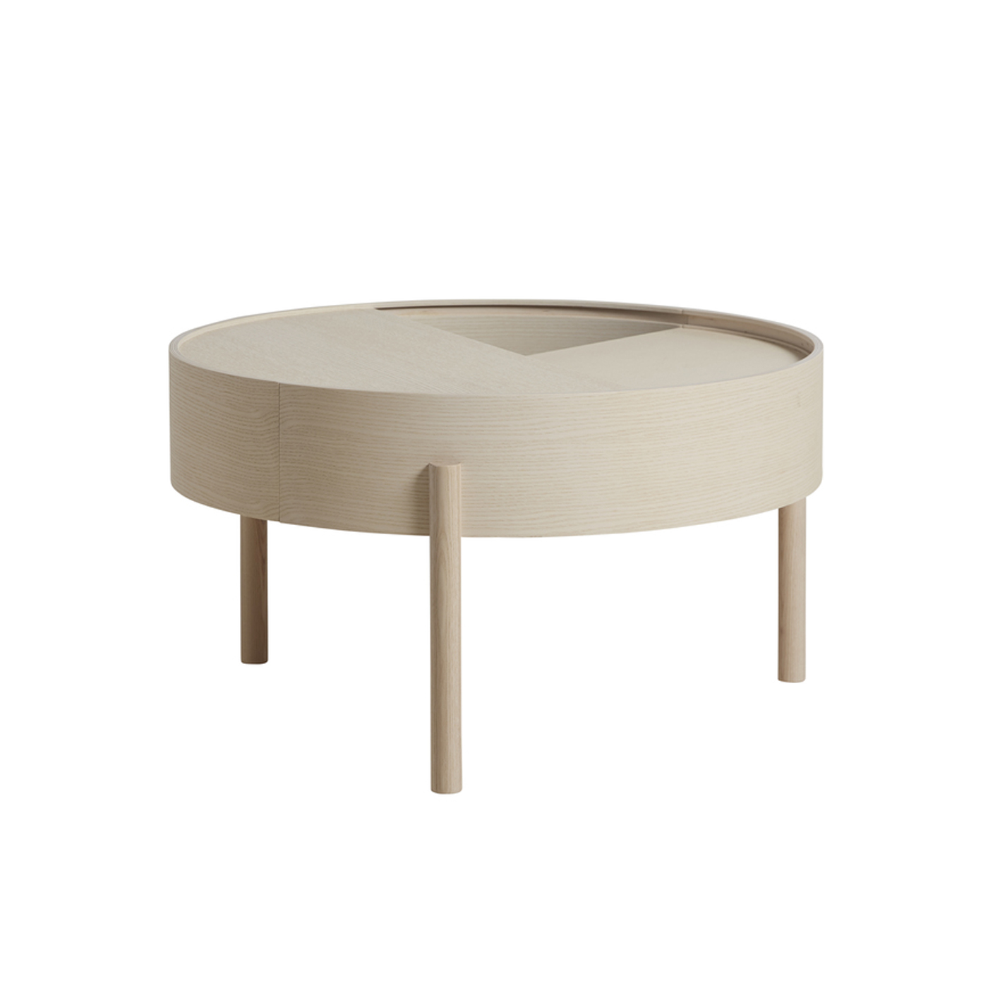 WOUD Arc sofabord - natur asketræ, m. opbevaring, rund (Ø66)