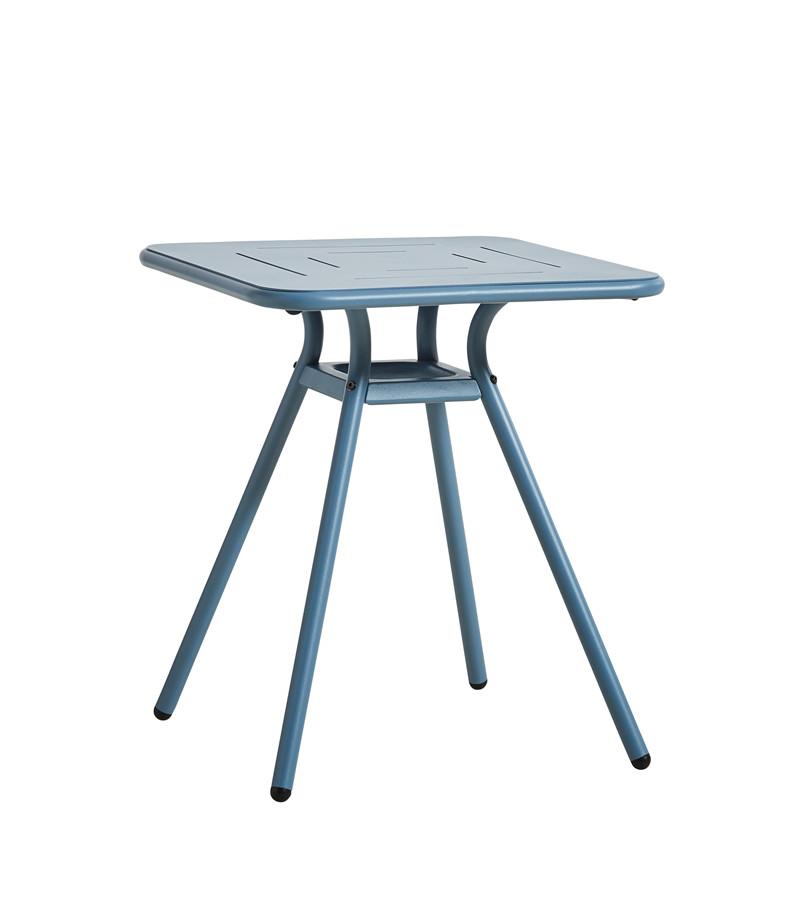 WOUD Ray cafébord - blå aluminium, kvadratisk (65x65)