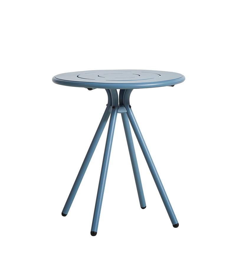 WOUD Ray cafébord - blå aluminium, rund (Ø65)