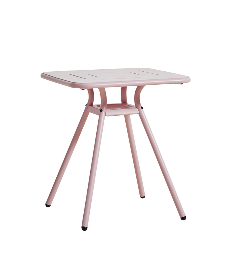 WOUD Ray cafébord - lyserød aluminium, kvadratisk (65x65)