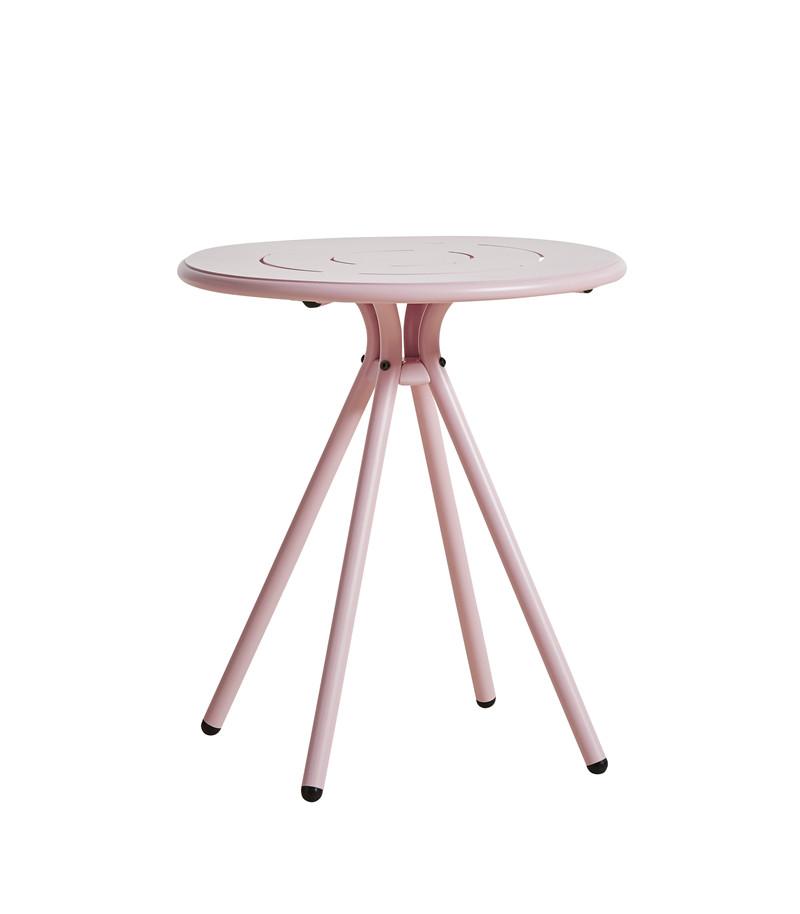 WOUD Ray cafébord - lyserød aluminium, rund (Ø65)