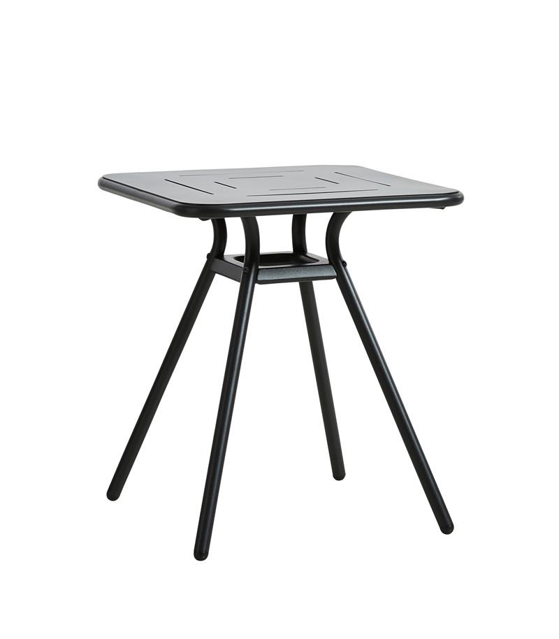 WOUD Ray cafébord - sort aluminium, kvadratisk (65x65)