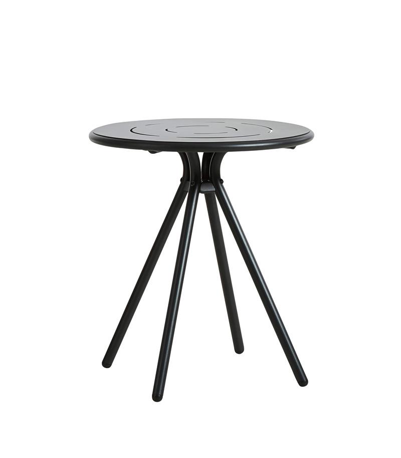 WOUD Ray cafébord - sort aluminium, rund (Ø65)