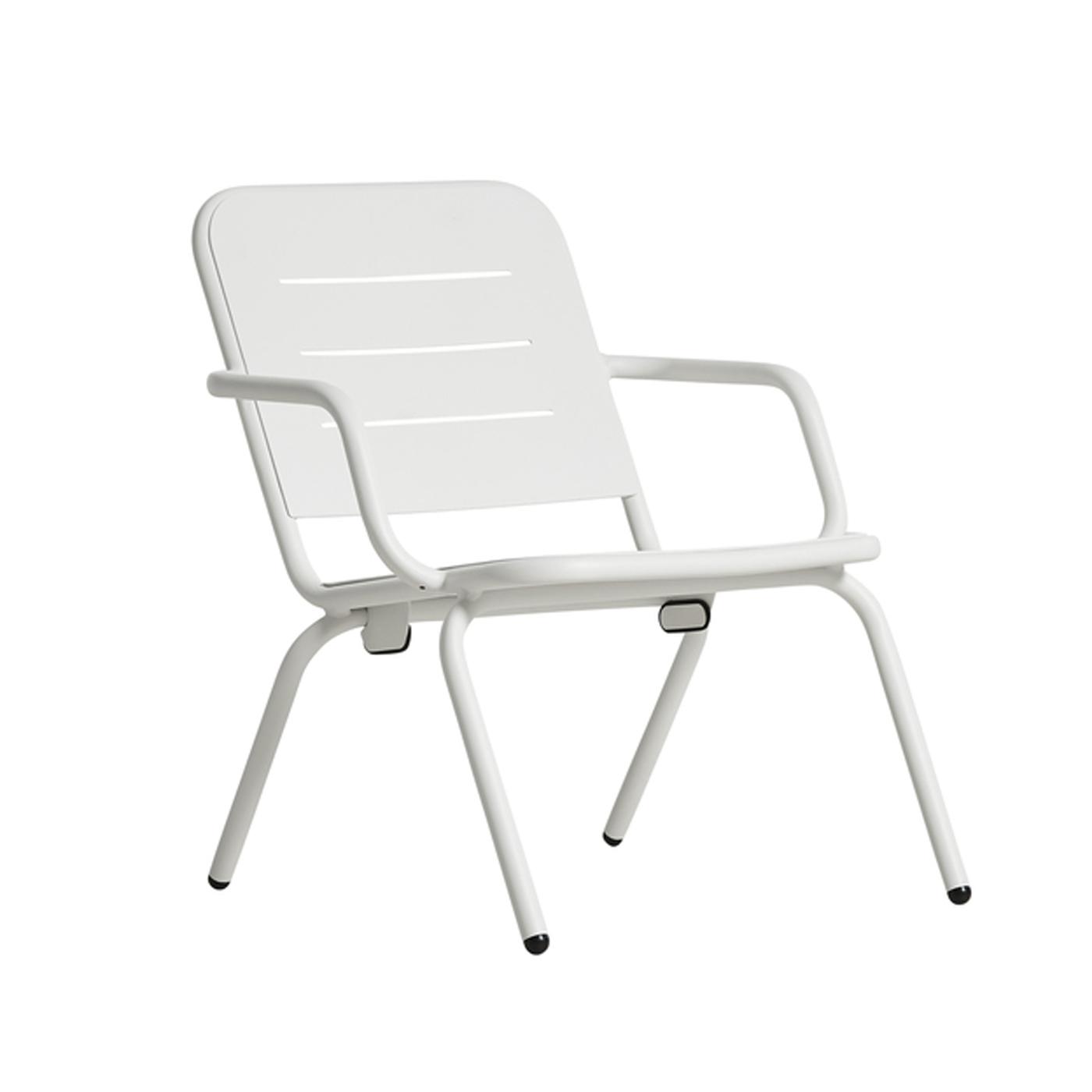 WOUD Ray loungestol - hvid aluminium, m. armlæn