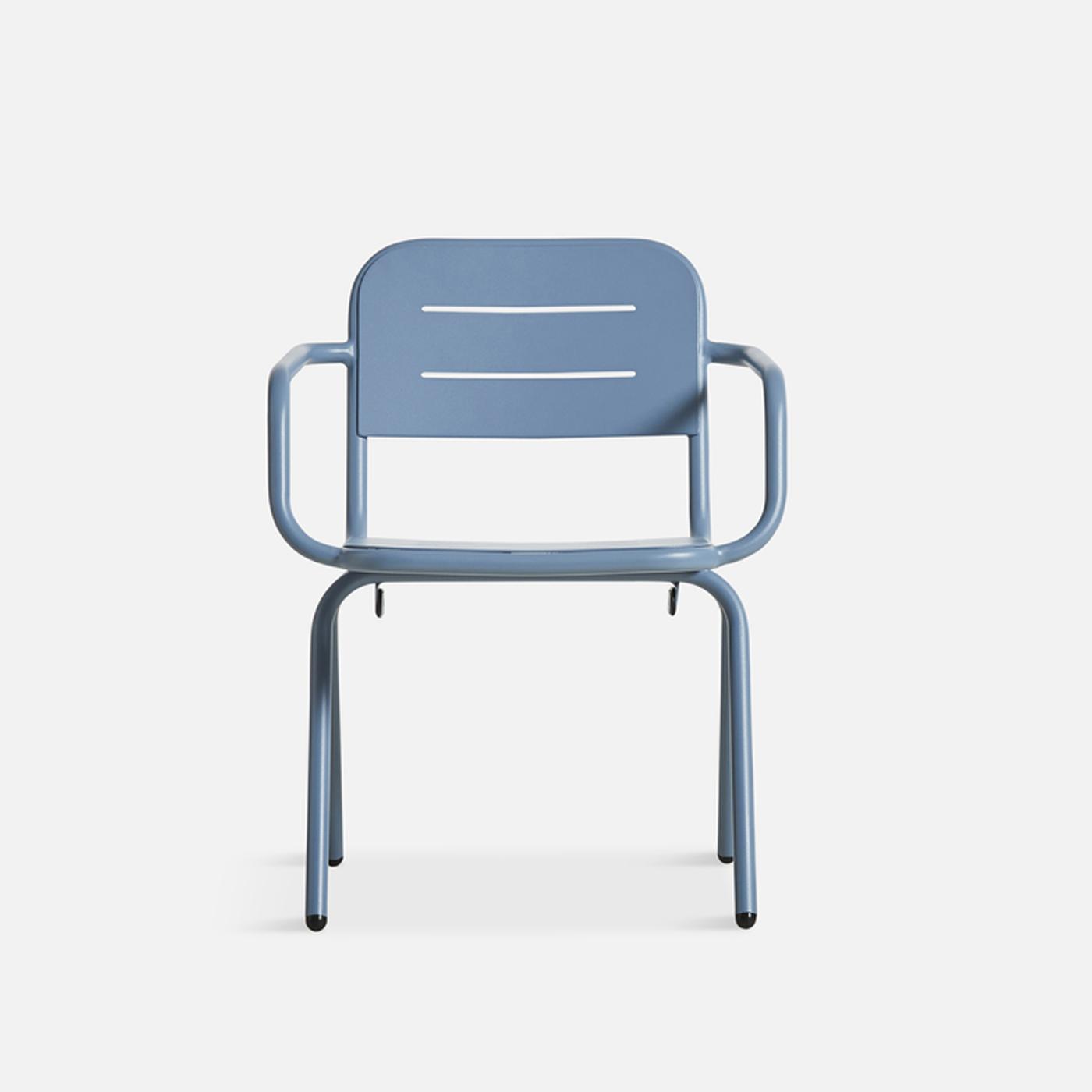 WOUD Ray spisebordsstol - blå aluminium, m. armlæn