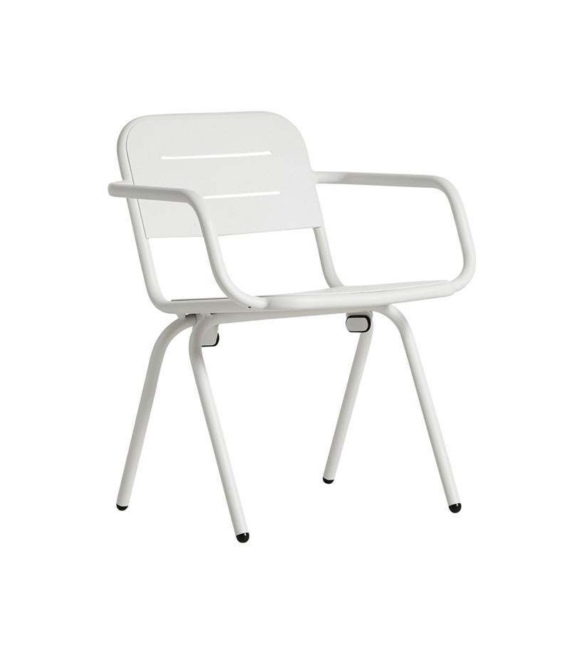 WOUD Ray spisebordsstol - hvid aluminium, m. armlæn