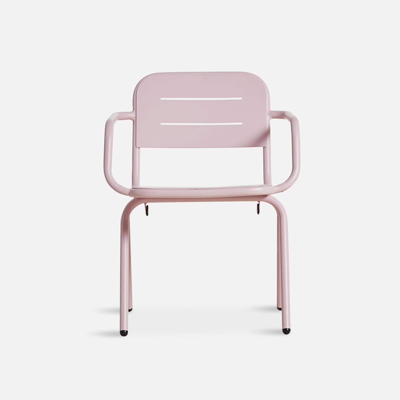 WOUD Ray spisebordsstol - lyserød aluminium, m. armlæn