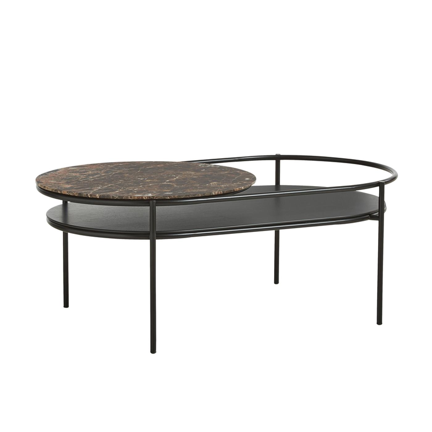 WOUD Verde sofabord - brun marmor og sort egetræsfinér/metal, oval (106x60)