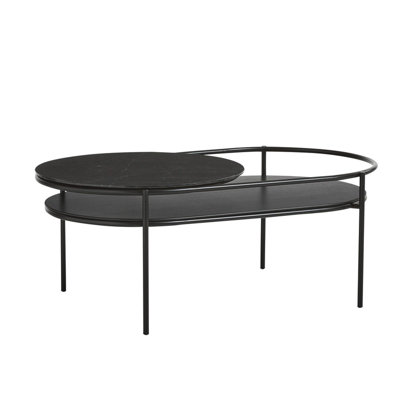 WOUD Verde sofabord - sort marmor/egetræsfinér/metal, oval (106x60)