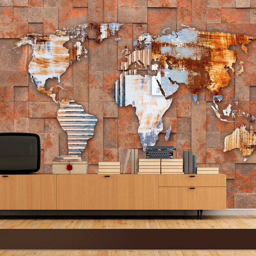 ARTGEIST Fototapet - Arcana of Modernity, morderne og råt verdenskort (flere størrelser) 300x210