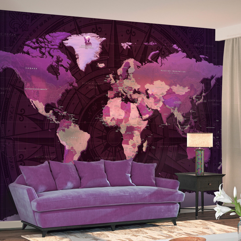 ARTGEIST Fototapet - Purple World Map, lilla verdenskort (flere størrelser) 100x70