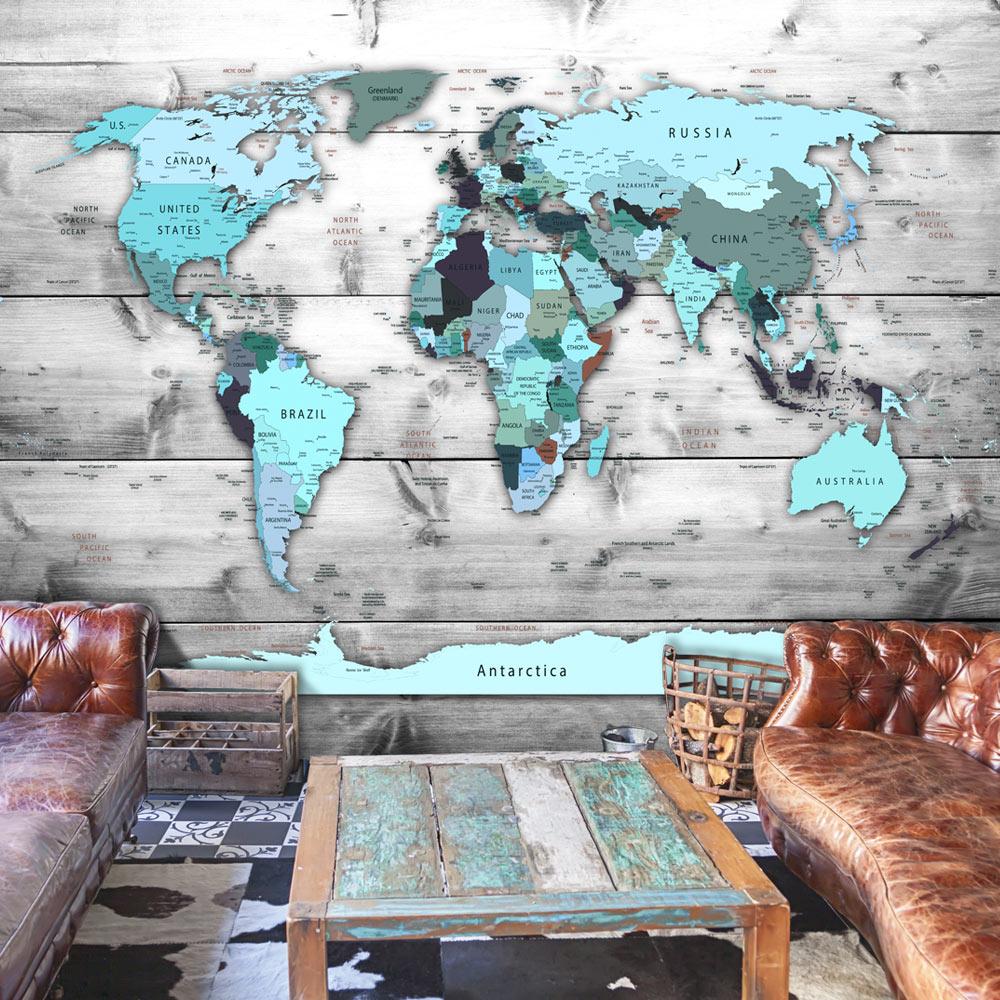 ARTGEIST Fototapet - World Map: Blue Continents, blåt verdenskort (flere størrelser) 100x70