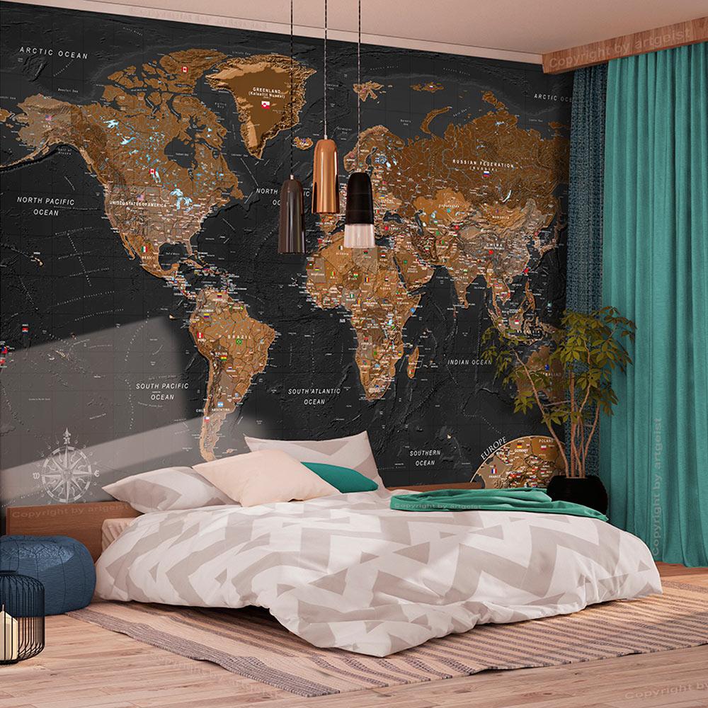 ARTGEIST Fototapet - World: Stylish Map, eksklusivt verdenskort (flere størrelser) 100x70