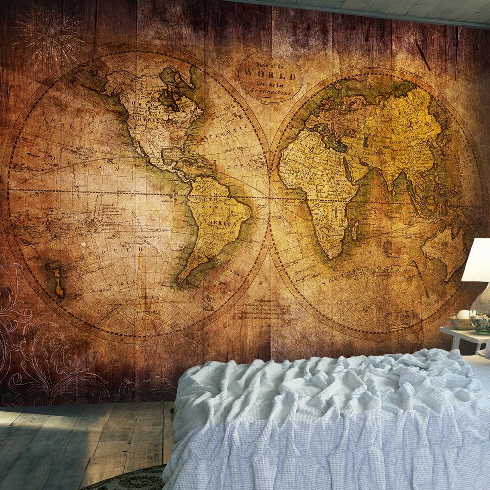ARTGEIST Fototapet - World on old map, vintage verdenskort i brune farver (flere størrelser) 100x70