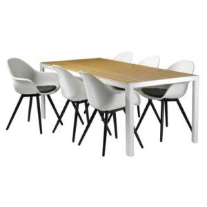 Havemøbelsæt inkl. hynder - Solaima L - Natur/hvid
