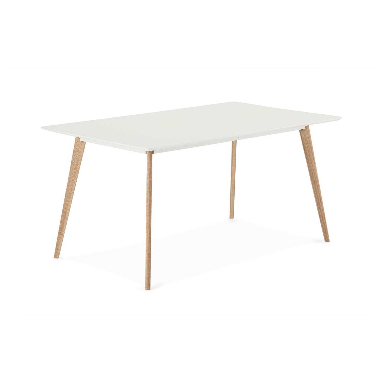 Life rektangulær spisebord - hvid, natur egetræ (160x90)