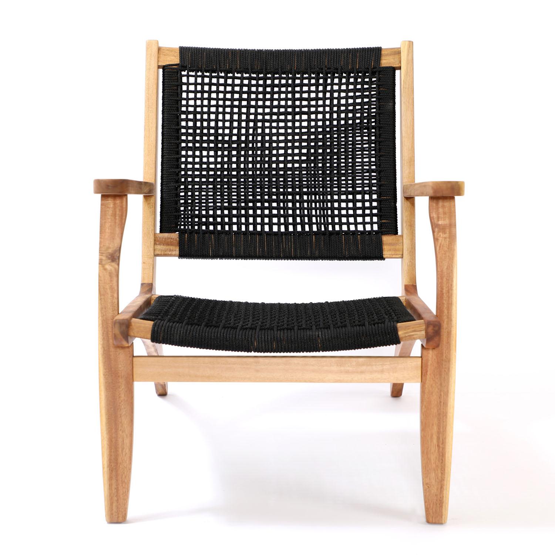 VENTURE DESIGN Little John udendørs loungestol m. armlæn - natur akacietræ og sort reb