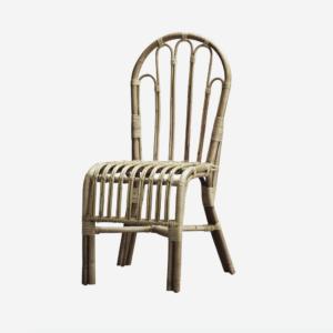 Spisestue stol i rattan, u. ærmlæn - Hvid