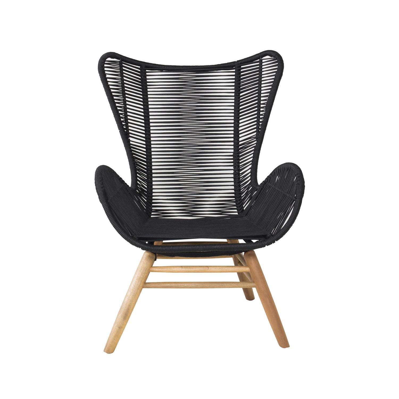 VENTURE DESIGN Tingeling udendørs loungestol m. armlæn - natur akacietræ og sort reb
