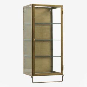 Vægskab i metal med glashylder - 66x30 - guld finish