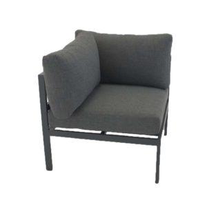VENTURE DESIGN Copacabana Lyx modul havesofa - hjørne m. grå hynder - sort aluminium