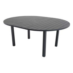 VENTURE DESIGN ovalt Marbella havebord m. udtræk - sort aluminium (Ø120)