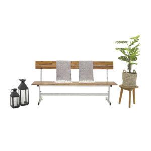 VENTURE DESIGN rektangulær Lie havebænk m. ryglæn - natur akacietræ og sølv stål