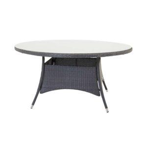 VENTURE DESIGN rund Volta havebord - glas og sort aluminium (Ø150)