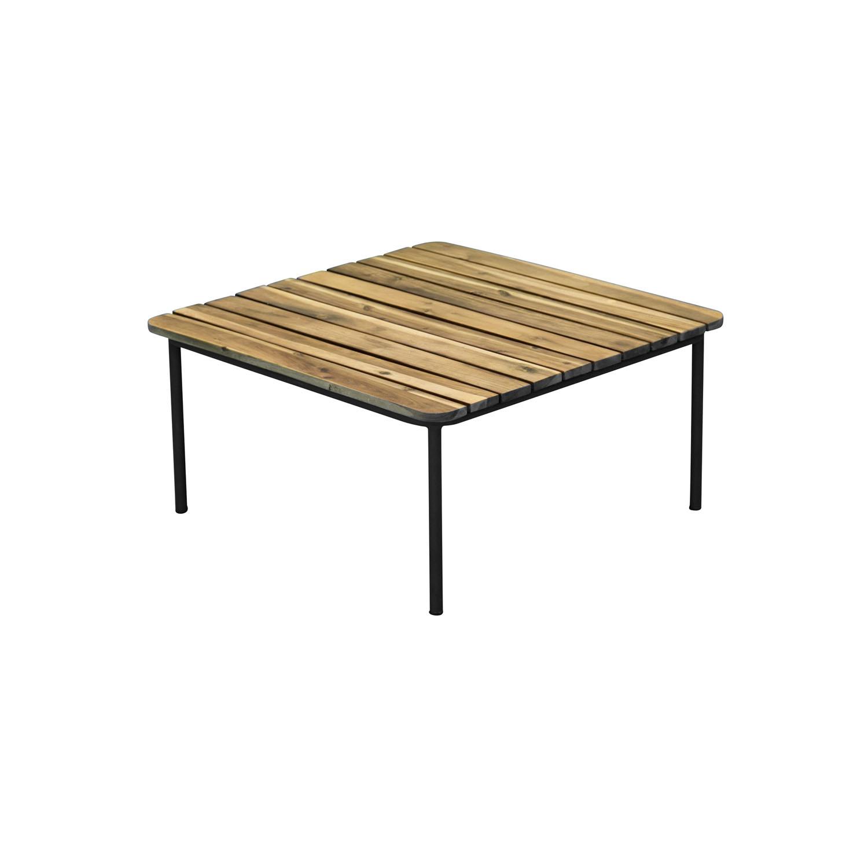 VENTURE DESIGN kvadratisk Penh havebord - natur akacietræ og sort stål (64,5x 64,5)