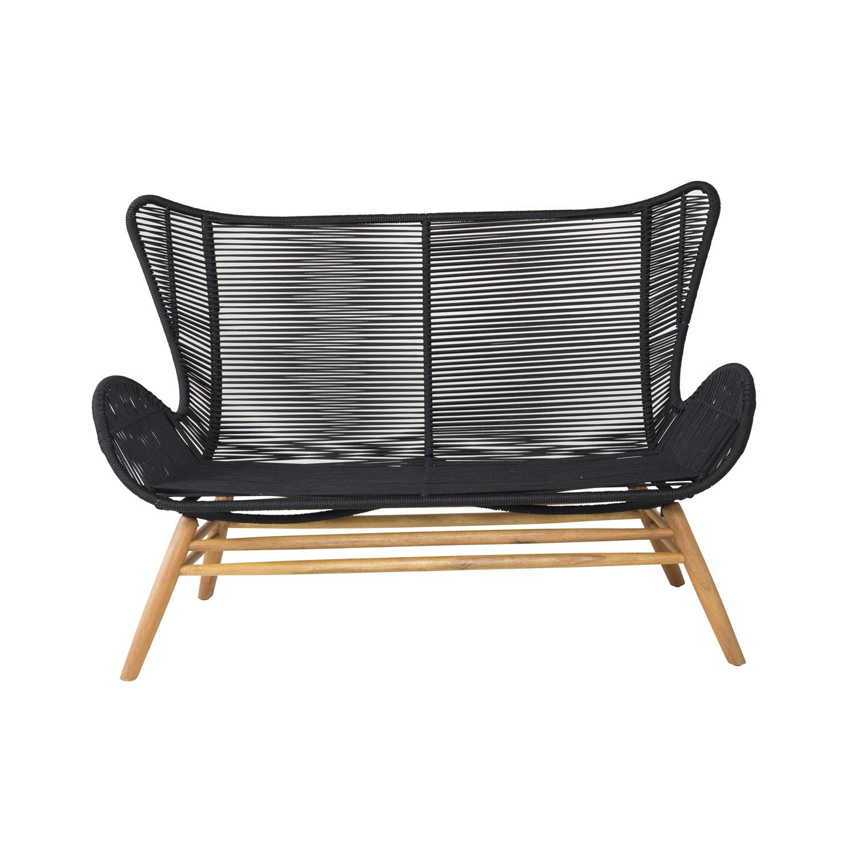VENTURE DESIGN rektangulær Tingeling sofa havebænk - natur akacietræ og sort reb
