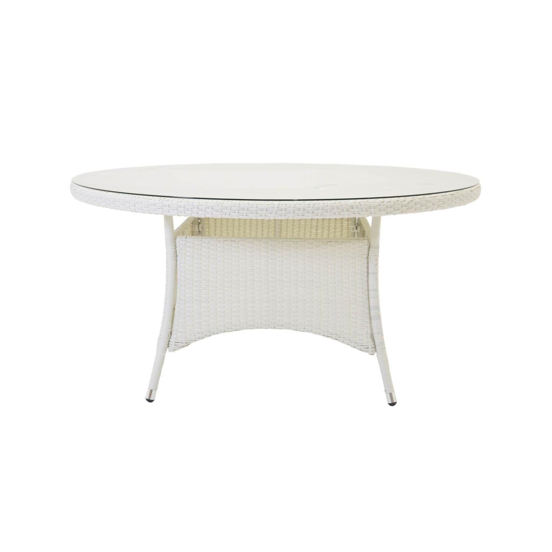 VENTURE DESIGN rund Volta havebord - glas og hvid aluminium (Ø90)