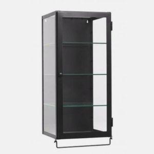 vægskab i metal med glashylder - 66x30 - sort