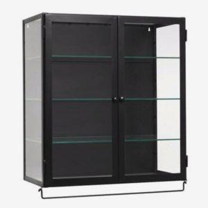 vægskab i metal med glashylder - 66x60 - sort