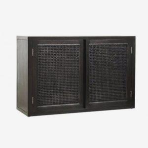 vægskab / skænk i teaktræ - 65x100 - sort