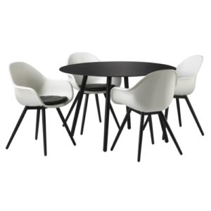 Havemøbelsæt inkl. hynder - Solaima Rund - Sort/hvid