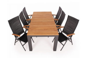 Vita Havemøbelsæt m/udtræksbord - 100x210/289 cm - Antracit/Teak