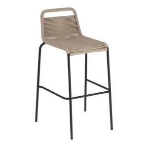 LAFORMA Beige Glenville barstol til haven, m. ryglæn og fodstøtte - stål (100cm)