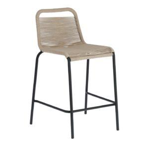 LAFORMA Beige Glenville barstol til haven, m. ryglæn og fodstøtte - stål (88cm)
