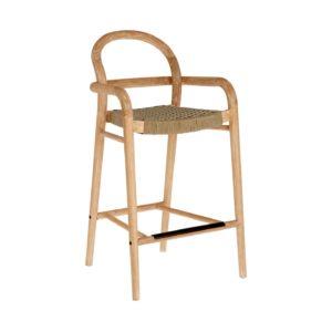 LAFORMA Beige Sheryl barstol til haven, m. armlæn, ryglæn og fodstøtte - natur eukalyptustræ (69cm)